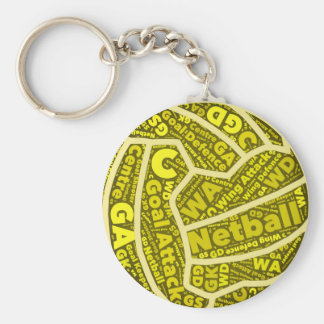 Netball Themed Yellow Typography Ball Design Key Ring