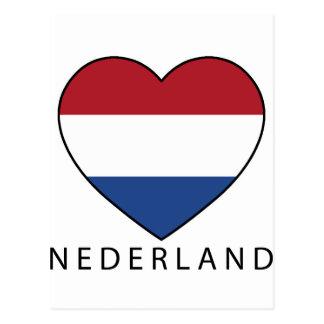 Netherland Heart with black NEDERLAND Postcard