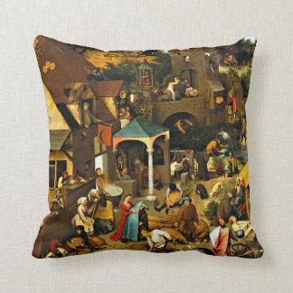 Netherlandish Proverbs-1559 Pieter Bruegel Elder Cushion