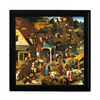 Netherlandish Proverbs, Pieter Bruegel painting Large Square Gift Box