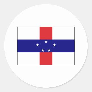Netherlands Antilles FLAG International Round Sticker