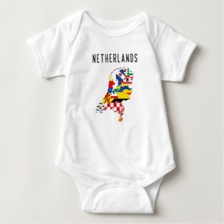 Netherlands country regions province flag map symb baby bodysuit