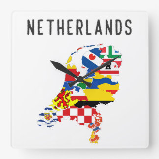Netherlands country regions province flag map symb square wall clock
