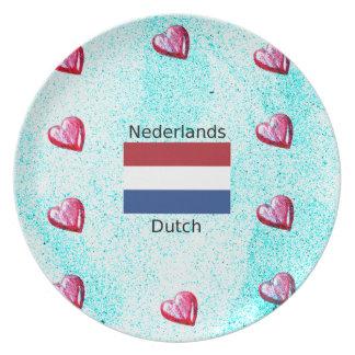 Netherlands Flag And Dutch Language Design Plate