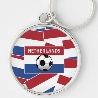 Netherlands Flag Football Silver-Colored Round Key Ring