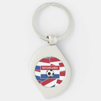 Netherlands Flag Football Silver-Colored Swirl Key Ring