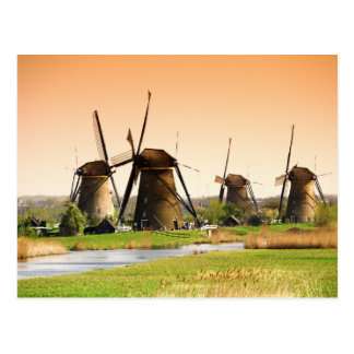Netherlands, Kinderdijk. Windmills next to Postcard