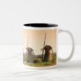 Netherlands, Kinderdijk. Windmills next to Two-Tone Mug