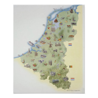 Netherlands, map showing distinguishing features poster