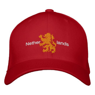 Netherlands Red and Orange Rampant Lion Cap Embroidered Baseball Caps