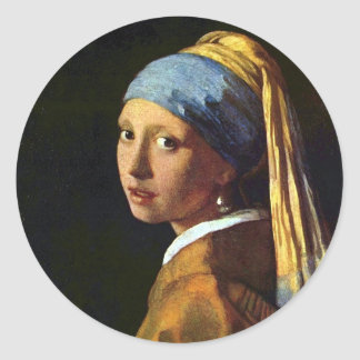 NETHERLANDS--Vermeer: Girl with the Pearl Earring Round Sticker