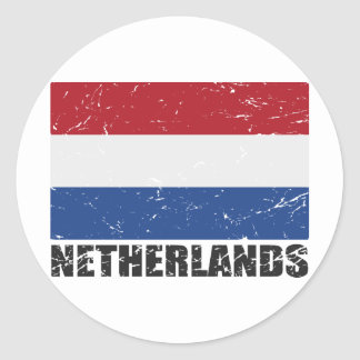 Netherlands Vintage Flag Classic Round Sticker
