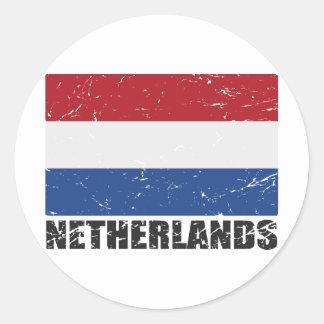 Netherlands Vintage Flag Round Sticker