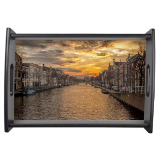 Netherlands waterway and houses at sunset serving tray