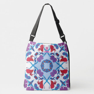 Network birds in blue my garden crossbody bag