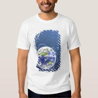 Network Lights Surrounding Earth Tee Shirt