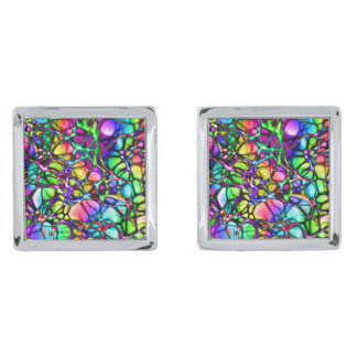 Neural Net in Spectrum Silver Finish Cufflinks