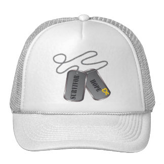 Neuroblastoma Cancer Survivor Dog Tags Hat