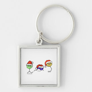 Neurotransmitters in Santa Hats Silver-Colored Square Key Ring