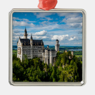 Neuschwanstein Castle - Bavaria - Germany Silver-Colored Square Decoration