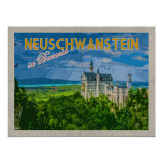 Neuschwanstein Castle Distressed Vintage Travel Poster