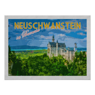 Neuschwanstein Castle Germany Vintage Travel Poster