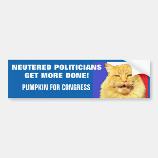 Neutered Politicians Get More Done - Cat Meme Bumper Sticker