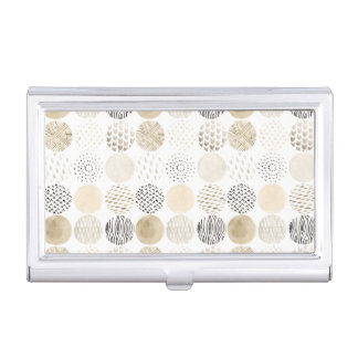 Neutral Abstract Circle Pattern Business Card Holder