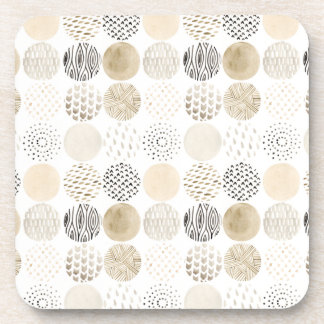 Neutral Abstract Circle Pattern Coaster