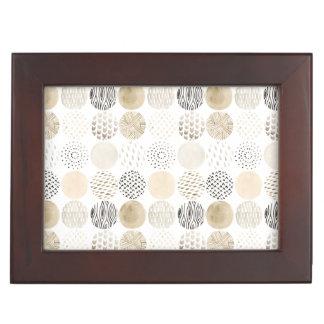 Neutral Abstract Circle Pattern Keepsake Box