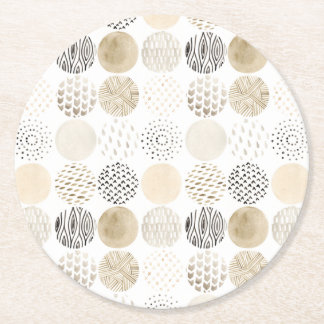 Neutral Abstract Circle Pattern Round Paper Coaster