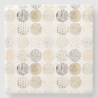 Neutral Abstract Circle Pattern Stone Coaster