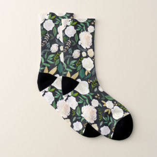 Neutral and Greenery Watercolor Floral Pattern Socks