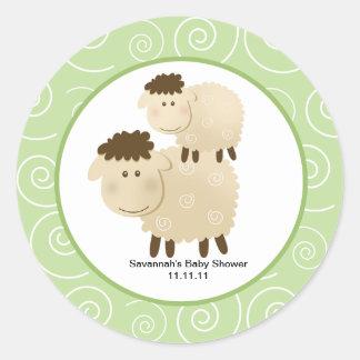 Neutral Baa Baa Sheep Favor Stickers 3-inch