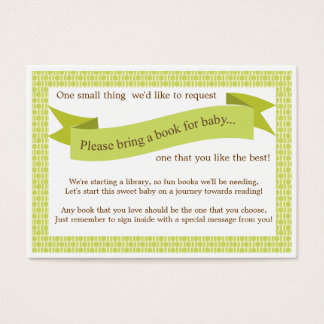 Neutral Baby Shower Book Insert Request Card Green