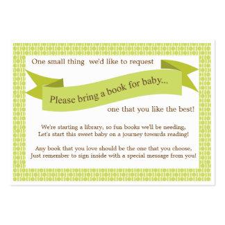 Neutral Baby Shower Book Insert Request Card Green Business Card