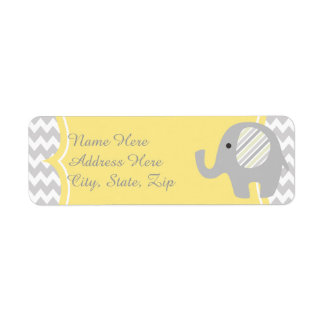Neutral Baby Shower Custom Elephant Address Labels