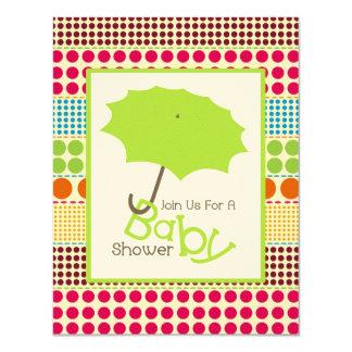 Neutral Baby Shower - Green Umbrella & Boho Dots 4.25x5.5 Paper Invitation Card