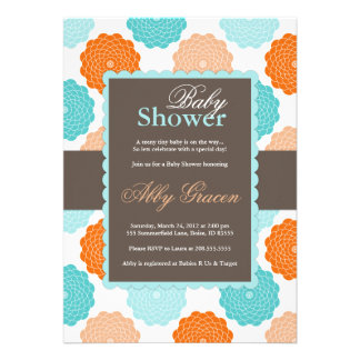 Neutral Baby Shower Invitation, Orange, Aqua, 976
