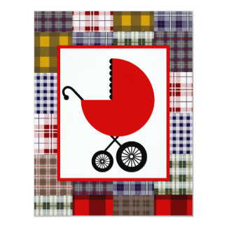 Neutral Baby Shower - Red Carriage & Plaid Card