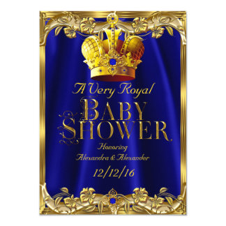 Neutral Baby Shower Royal Blue Gem Gold Crown Card