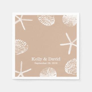 Neutral Beige Beach Theme Seashells Wedding Disposable Serviette