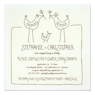 Neutral Birds Modern Family Couples Baby Shower 13 Cm X 13 Cm Square Invitation Card