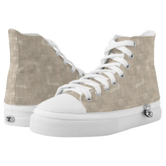 Neutral Brown Abstract Squares Pattern High Tops