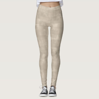 Neutral Brown Abstract Squares Pattern Leggings