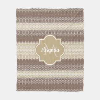 Neutral Brown and Tan Knit Pattern With Name Fleece Blanket