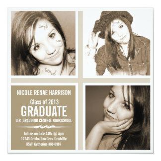 Neutral Brown Triple Photo Grad Party Personalized Invite