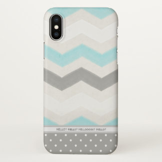 Neutral Chevron | Blue Gray & Beige | Personalized iPhone X Case