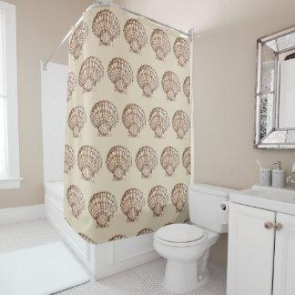 Neutral Color Seashell Shower Curtain