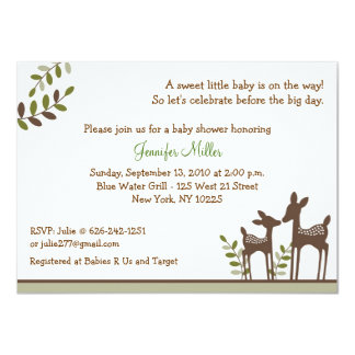 """Neutral Deer Forest Baby Shower Invitations 4.5"""" X 6.25"""" Invitation Card"""